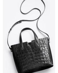 Vince - Black Stamped Crocodile Tote Bag - Lyst