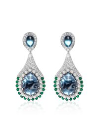 Abellan New York - Multicolor One Of A Kind Diamond, Emerald, Blue Topaz Earrings - Lyst