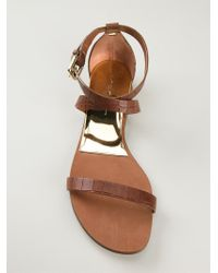 Casadei | Brown Crocodile Skin Effect Sandals | Lyst