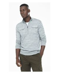 Express | Blue Marled Half Zip Mock Neck Sweater for Men | Lyst