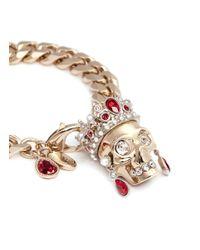 Alexander McQueen | Red Royal Skull Bracelet | Lyst