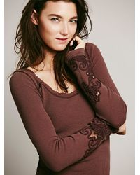 Free People | Brown Fp X Abigail Tee | Lyst