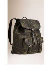 Burberry - Green Camouflage Print Lightweight Backpack for Men - Lyst