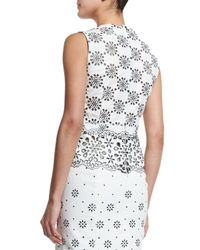 Marc Jacobs - White Laser-cut Gabardine Peplum Top - Lyst