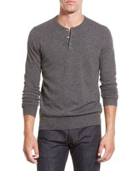 Bonobos - Gray Cashmere Henley Sweater for Men - Lyst