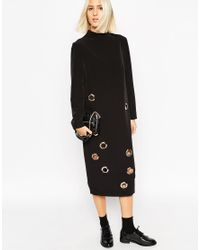 ASOS - Black White Midi Funnel Neck Dress With Eyelet Detail - Lyst