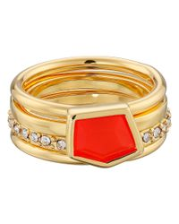 Vince Camuto | Red Mixed Stone Stack Ring Set | Lyst