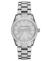 Karl Lagerfeld - Metallic Crystal Bezel Bracelet Watch - Lyst