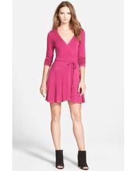 Glamorous | Pink Drawstring Faux Wrap Dress | Lyst