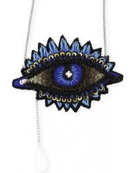 Forest Of Chintz | Metallic Embroidered Blue Eye Necklace | Lyst