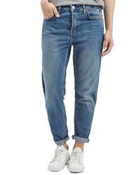TOPSHOP - Blue Moto 'hayden' Boyfriend Jeans - Lyst