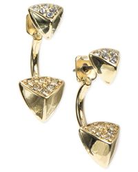 Anne Klein | Metallic Gold-tone Earring Jacket Pyramid Earrings | Lyst