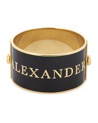 Alexander McQueen - Metallic Black Enamel Cuff - Lyst