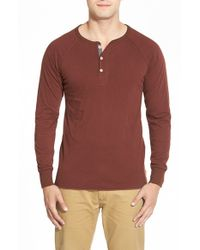 Jeremiah | Red 'landon' Slim Fit Double Layer Raglan Henley for Men | Lyst