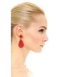 Oscar de la Renta - Red Carved Teardrop Earrings - Persimmon - Lyst