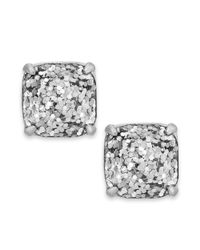kate spade new york | Silver-tone Metallic Glitter Stone Stud Earrings | Lyst