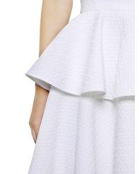 Alexander McQueen - White Cotton Blend Floral Piqué Peplum Dress - Lyst
