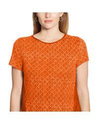 Ralph Lauren | Orange Paneled Linen-cotton Tee | Lyst