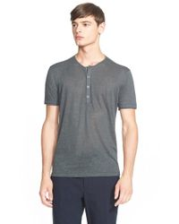 John Varvatos - Gray Linen Henley Shirt for Men - Lyst
