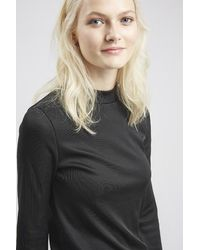 TOPSHOP - Black Clean Funnel Neck Sweater - Lyst