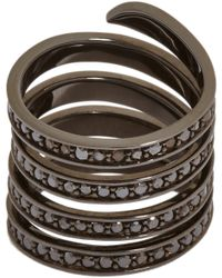 Lynn Ban | Black Diamond Sterling Silver Pave Coil Ring | Lyst
