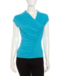 Lafayette 148 New York - Blue Ruchedfront V Neck Top Pool - Lyst