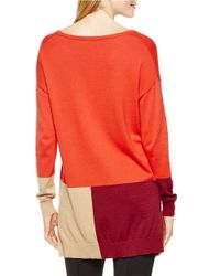 Vince Camuto | Orange V-neck Colorblocked Sweater | Lyst