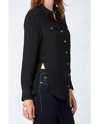 True Religion | Black Relaxed Silk Georgia Womens Shirt | Lyst