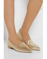 Nicholas Kirkwood | Metallic Textured-Leather Point-Toe Flats | Lyst