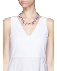 "Venessa Arizaga | Multicolor ""loco In Acapulco"" Braided Charm Necklace 