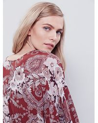 Free People | Red High Plains Printed Dress | Lyst