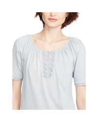 Ralph Lauren - Blue Eyelet-trimmed Cotton Top - Lyst