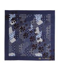 Etro - Blue Paw Print Silk Scarf for Men - Lyst
