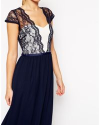 ASOS - Blue Scalloped Lace Maxi Dress - Lyst