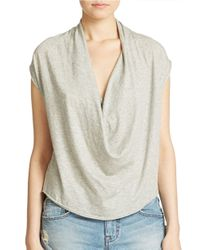 Free People | Gray Fantasy Jersey Cowl Tee | Lyst