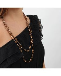 Brunello Cucinelli - Metallic Single Strand Flat Bead Necklace - Lyst