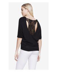 Express | Black Lace Back Dolman Sweater | Lyst