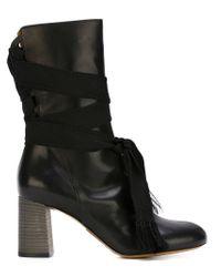 Chloé - Black Lace-Up Boots - Lyst