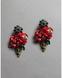 Dolce & Gabbana - Red Velvet Rose Earrings With Bee - Lyst