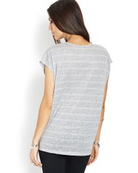Forever 21 - Gray Contemporary Linen Dot Zippered Top - Lyst