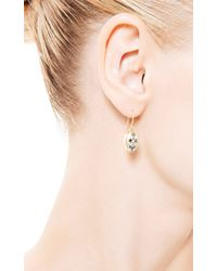 Me&Ro - Metallic Scrimshaw Skull Black Diamond Earrings - Lyst