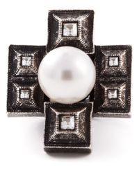 Lanvin | Gray Cross-Shaped Ring | Lyst