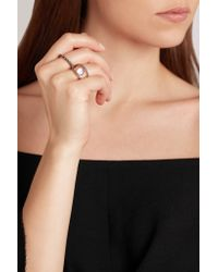 Noor Fares - Black 18-karat Gold Moonstone, Diamond And Sapphire Ring - Lyst