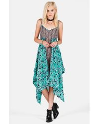 Volcom - Green 'chances Are' Print Handkerchief Hem Dress - Lyst