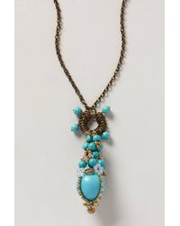 Anthropologie - Blue Dianthus Pendant Necklace - Lyst