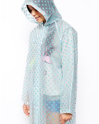 ASOS - Blue Long Line Rain Trench with Spot - Lyst