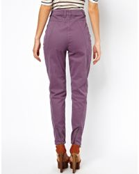 ASOS - Purple Peg Trousers with Seam Detail in Twill - Lyst