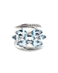 Shaun Leane | Blue Diamond, Aquamarine & White-Gold Ring | Lyst