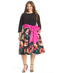 Eliza J - Black Sash Tie Tea Length Jersey & Faille Dress - Lyst