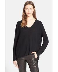 Vince - Black Directional Ribbed V-neck Sweater - Lyst